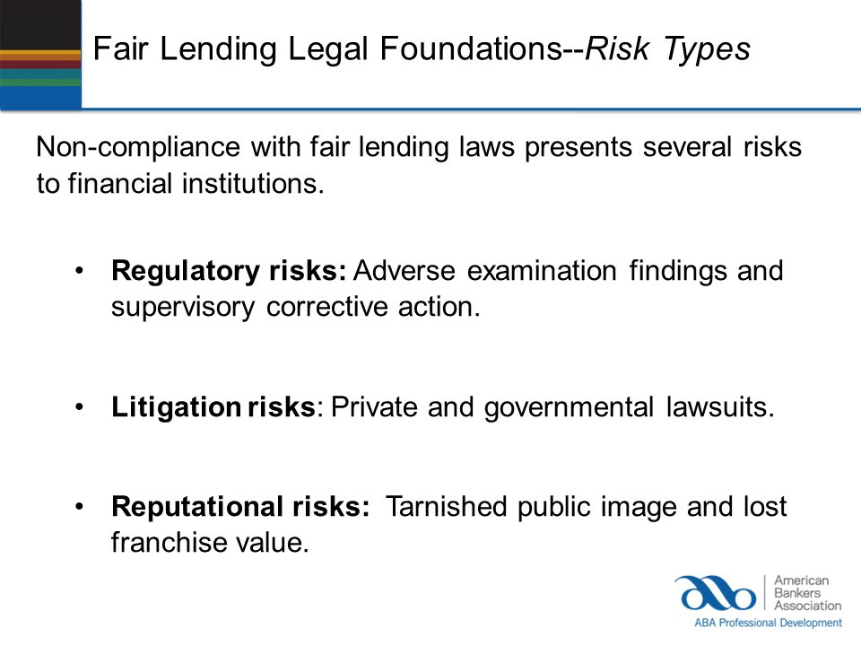 Fair Lending Legal Foundations--Risk Types