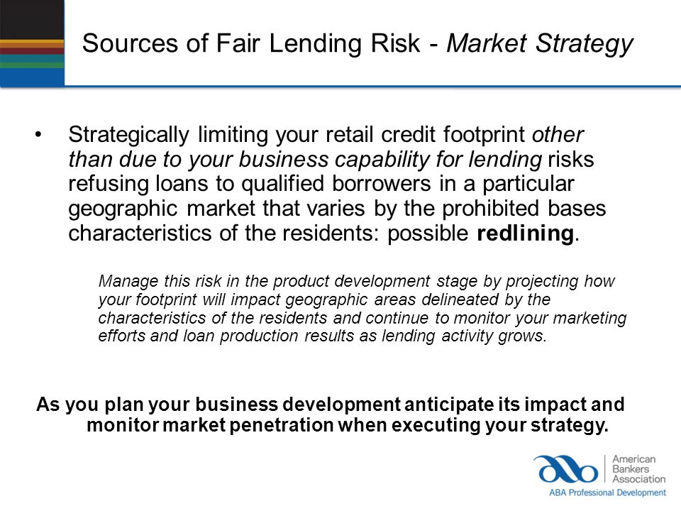 Sources of Fair Lending Risk - Market Strategy