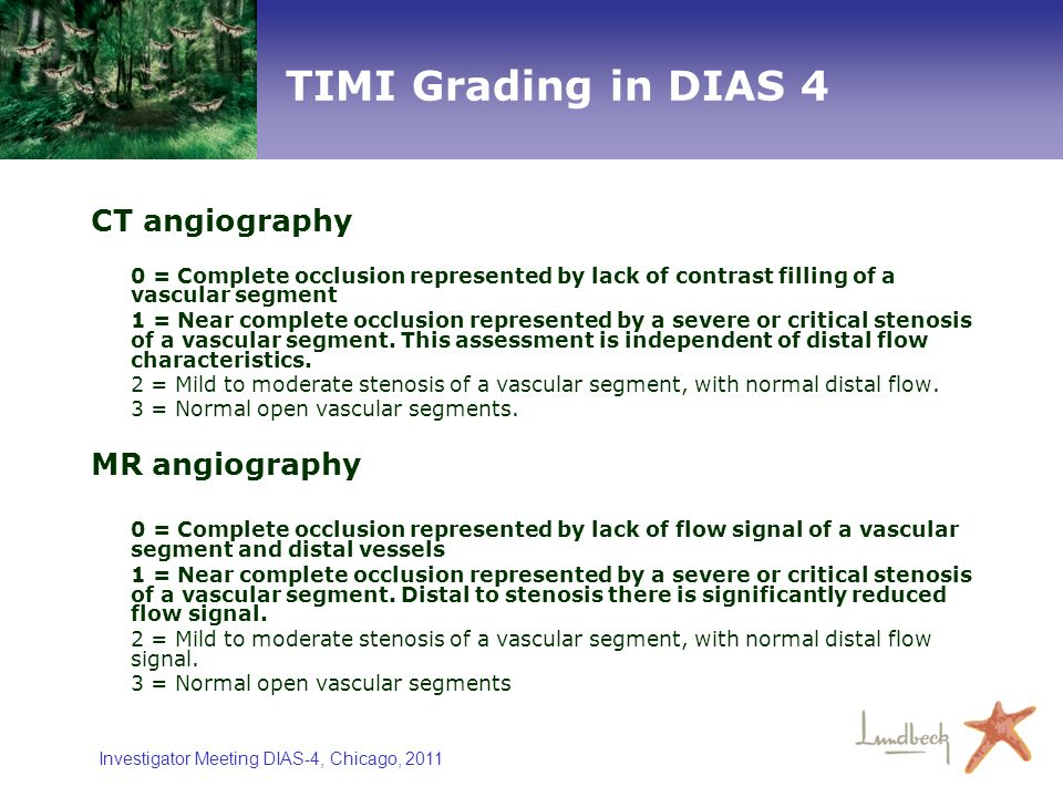 TIMI Grading in DIAS 4 CT angiography MR angiography
