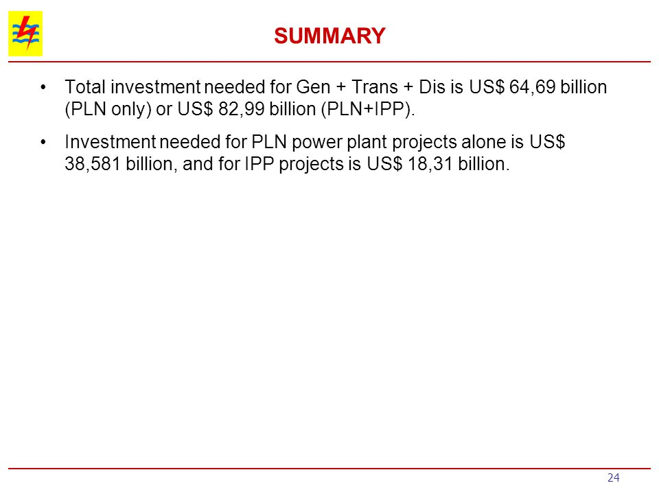 SUMMARY Total investment needed for Gen + Trans + Dis is US$ 64,69 billion (PLN only) or US$ 82,99 billion (PLN+IPP).