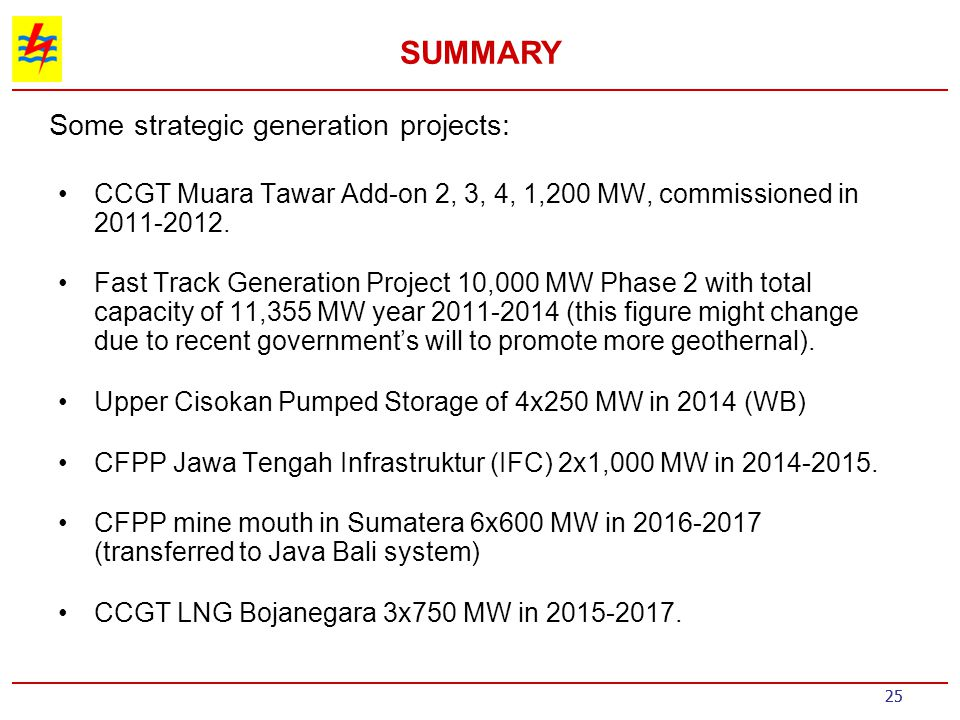 Some strategic generation projects: