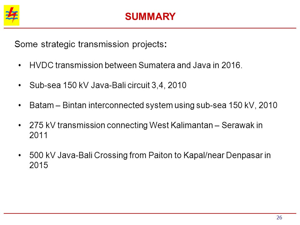 Some strategic transmission projects: