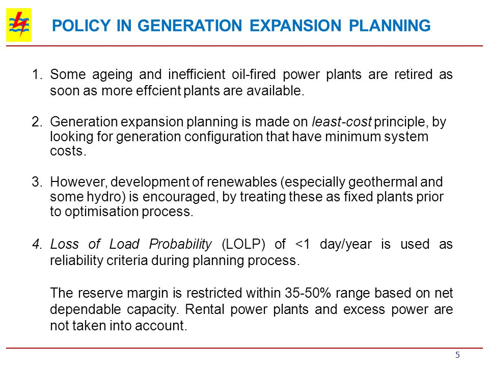 POLICY IN GENERATION EXPANSION PLANNING