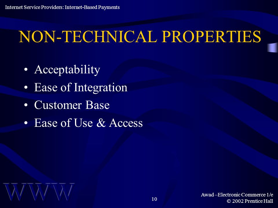 NON-TECHNICAL PROPERTIES