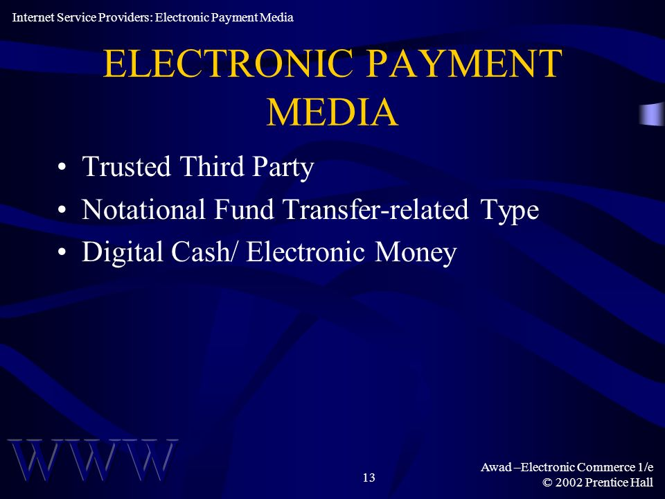 ELECTRONIC PAYMENT MEDIA