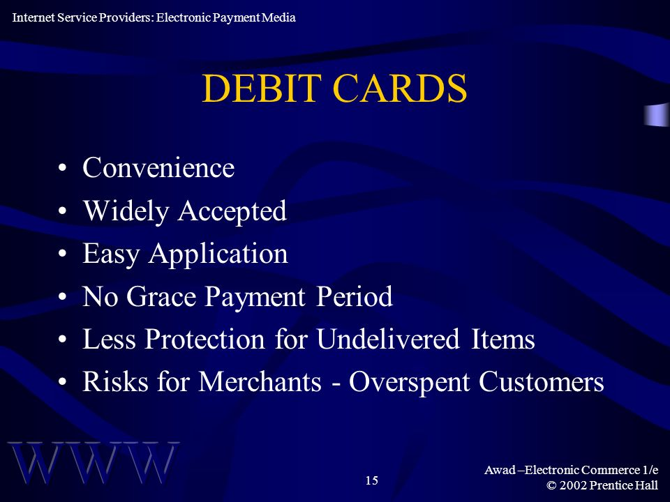DEBIT CARDS Convenience Widely Accepted Easy Application