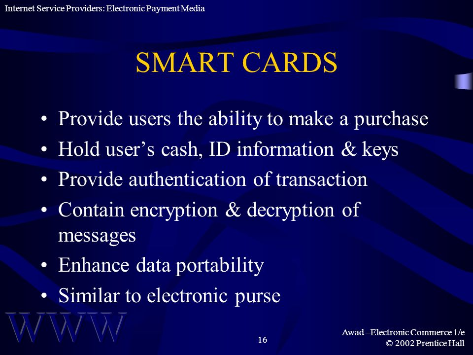 SMART CARDS Provide users the ability to make a purchase
