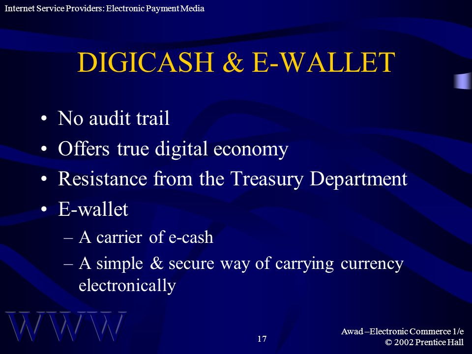 DIGICASH & E-WALLET No audit trail Offers true digital economy