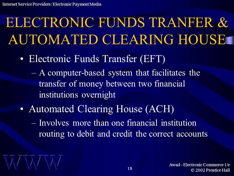 ELECTRONIC FUNDS TRANFER & AUTOMATED CLEARING HOUSE