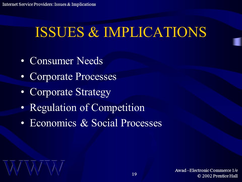 ISSUES & IMPLICATIONS Consumer Needs Corporate Processes