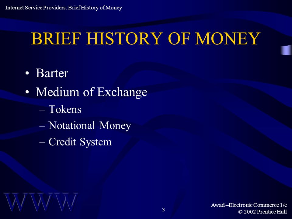 BRIEF HISTORY OF MONEY Barter Medium of Exchange Tokens
