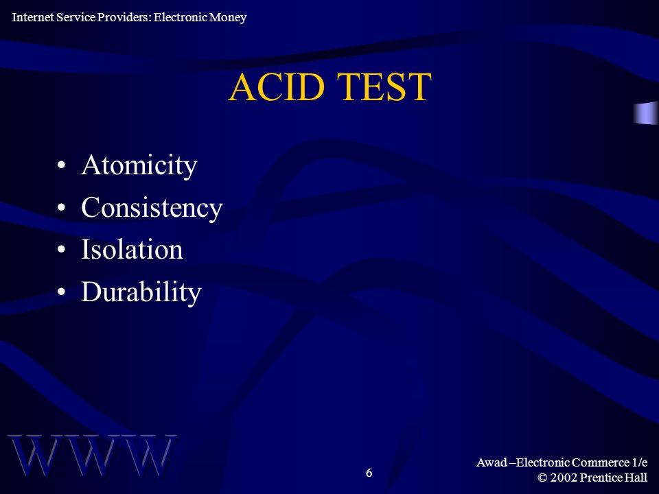 ACID TEST Atomicity Consistency Isolation Durability