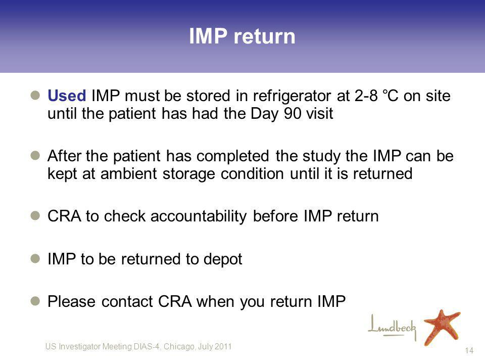 IMP return Used IMP must be stored in refrigerator at 2-8 ℃ on site until the patient has had the Day 90 visit.