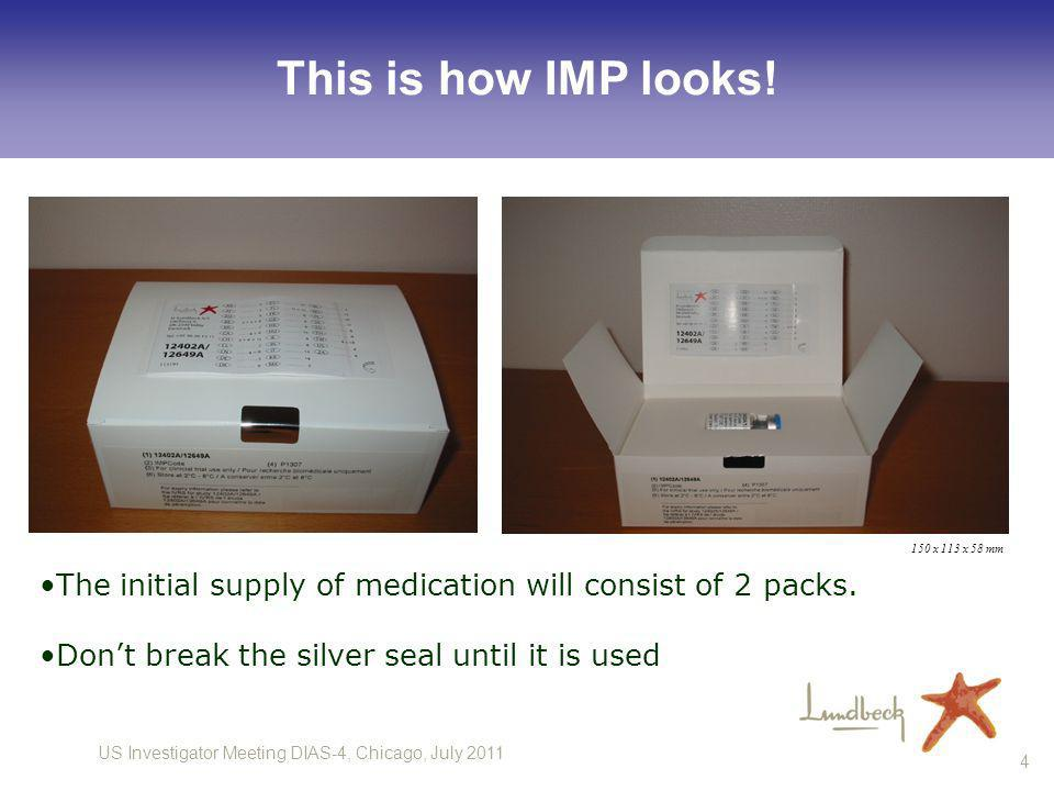 This is how IMP looks! 150 x 113 x 58 mm. The initial supply of medication will consist of 2 packs.