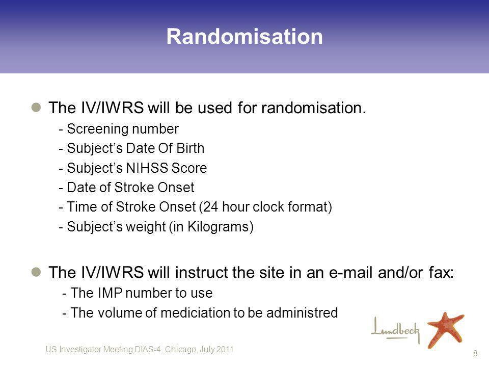 Randomisation The IV/IWRS will be used for randomisation.