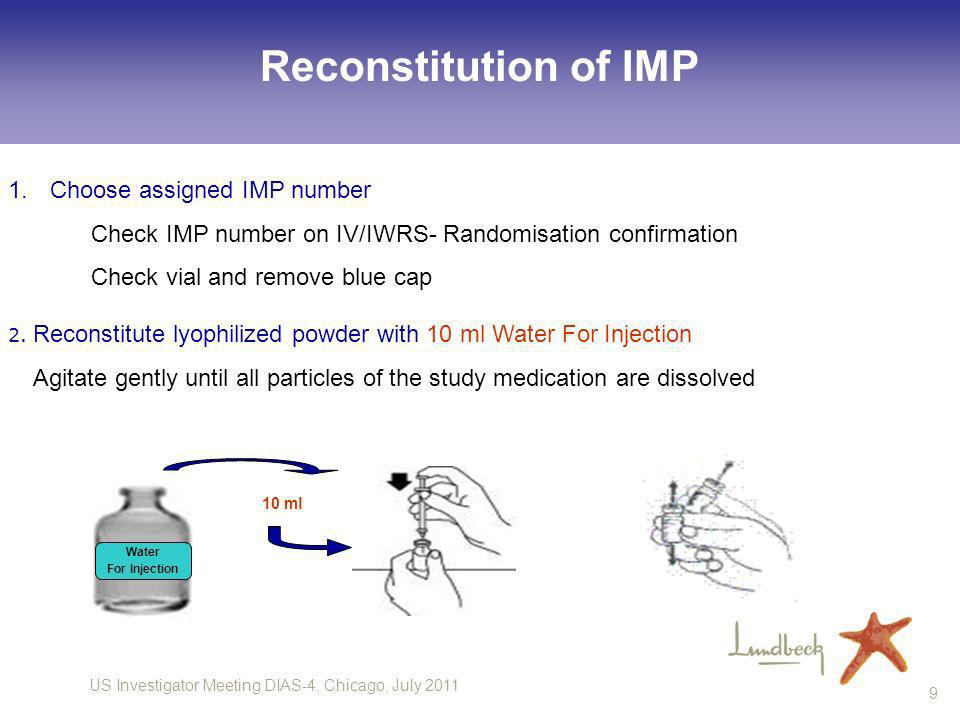 Reconstitution of IMP Choose assigned IMP number