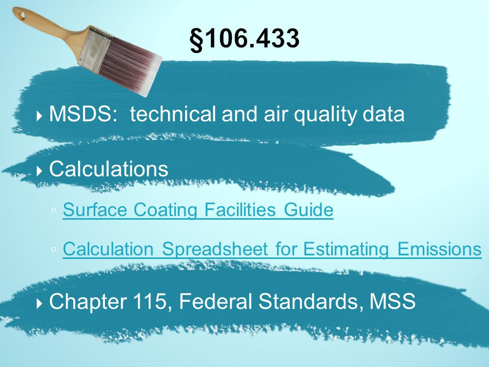 §106.433 MSDS: technical and air quality data Calculations