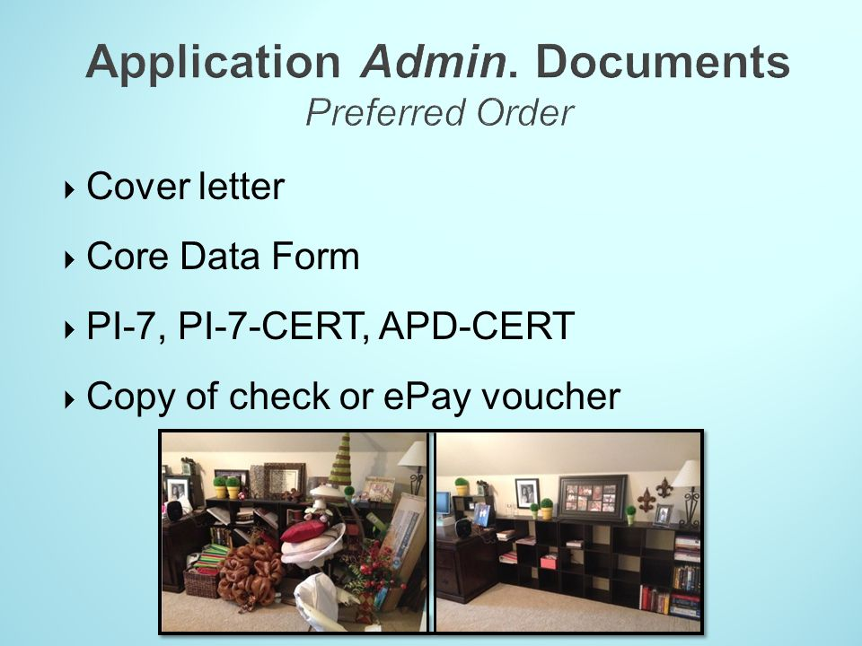 Application Admin. Documents Preferred Order