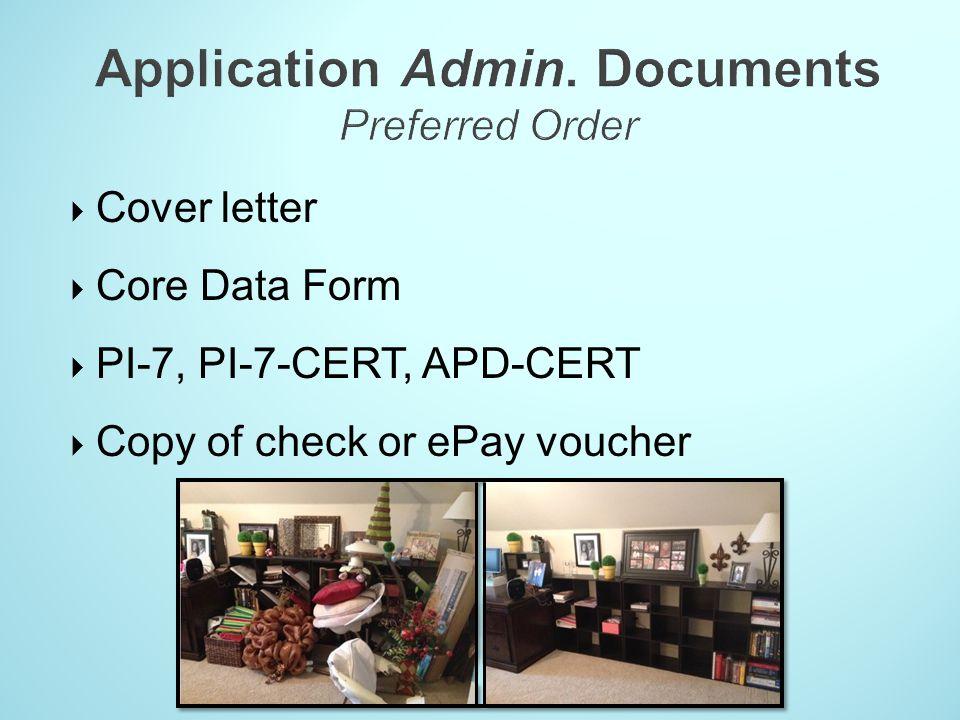 Application Admin. Documents Preferred Order