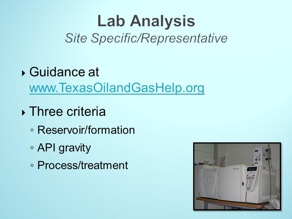 Lab Analysis Site Specific/Representative