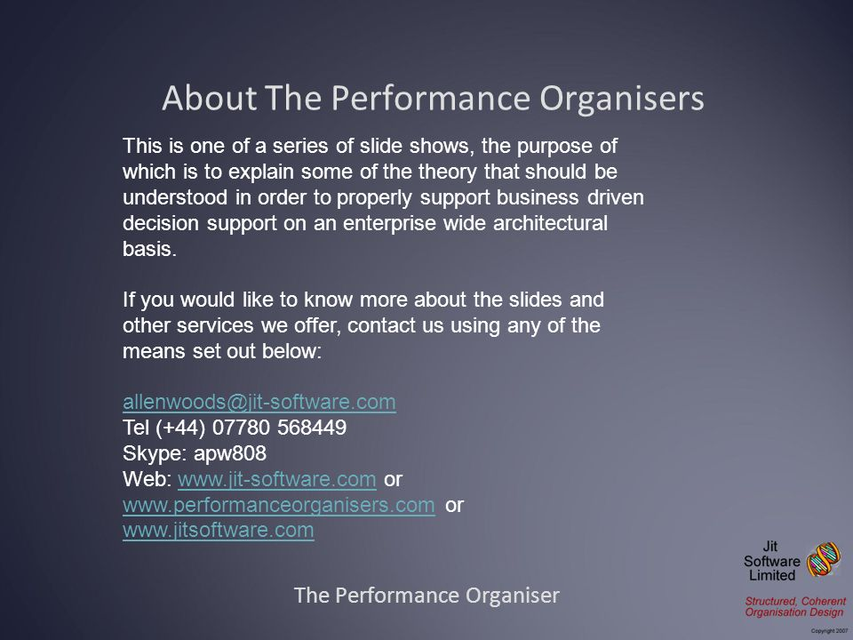 About The Performance Organisers