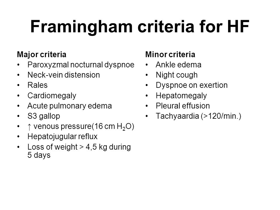 Framingham criteria for HF
