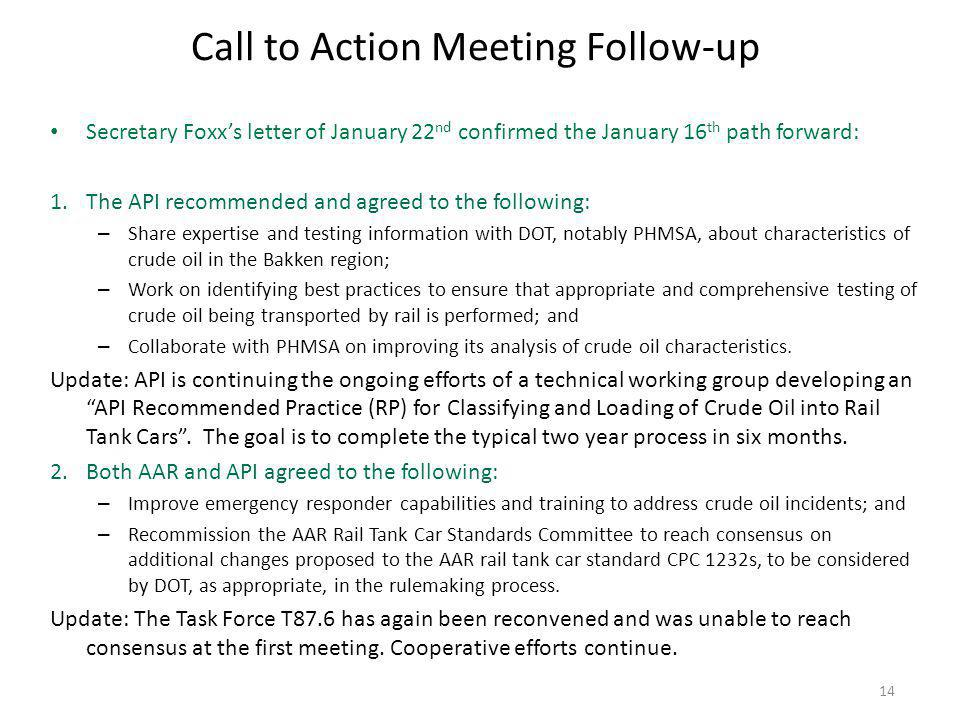 Call to Action Meeting Follow-up