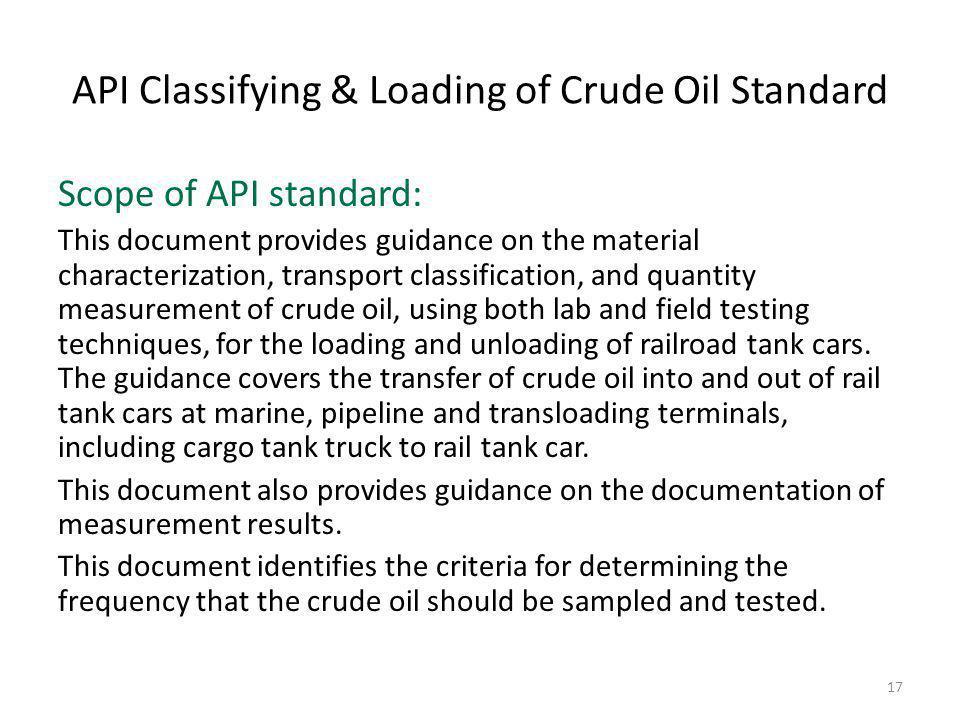 API Classifying & Loading of Crude Oil Standard