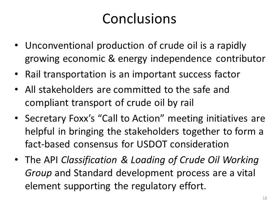 Conclusions Unconventional production of crude oil is a rapidly growing economic & energy independence contributor.
