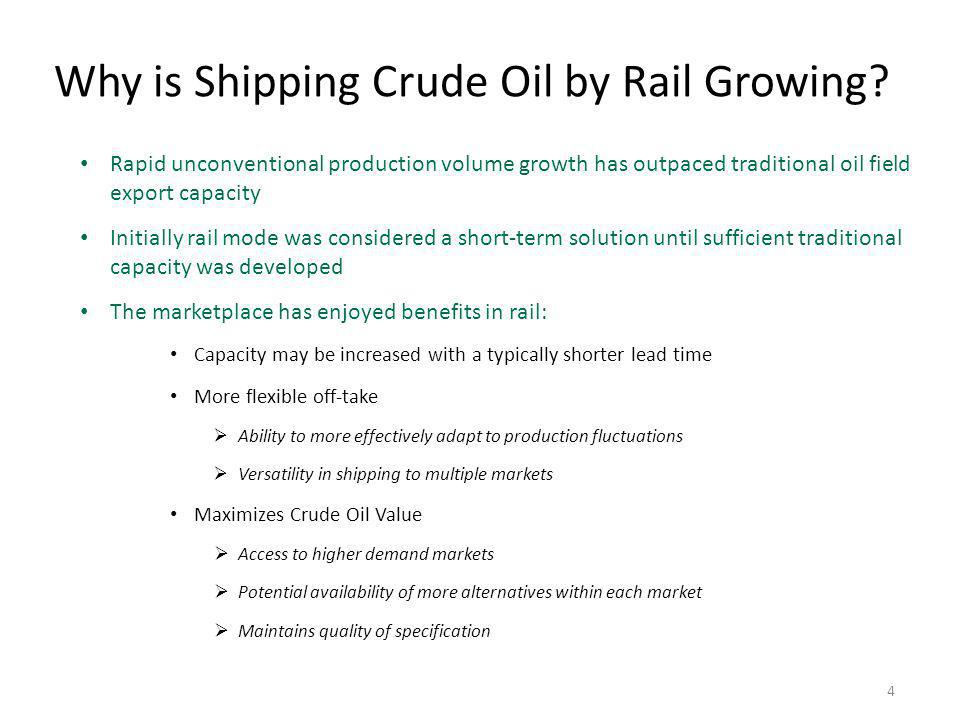 Why is Shipping Crude Oil by Rail Growing
