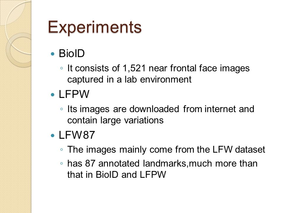 Experiments BioID LFPW LFW87