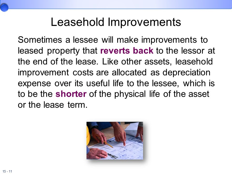 lease and leasehold improvements Lease or another basis representative of the time  as moving costs or leasehold improvements, or the  understanding aspe section 3065, leases keywords.