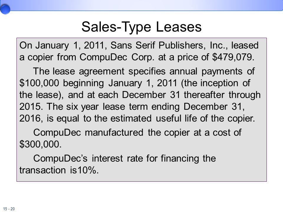 Sales-Type Leases On January 1, 2011, Sans Serif Publishers, Inc., leased a copier from CompuDec Corp. at a price of $479,079.