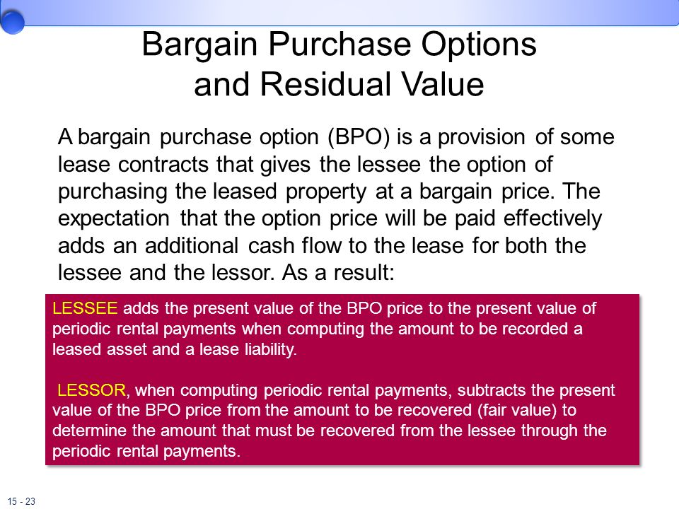 Bargain Purchase Options and Residual Value