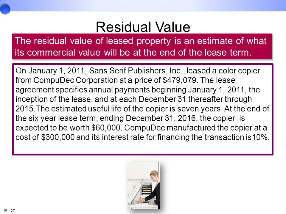 Residual Value The residual value of leased property is an estimate of what its commercial value will be at the end of the lease term.