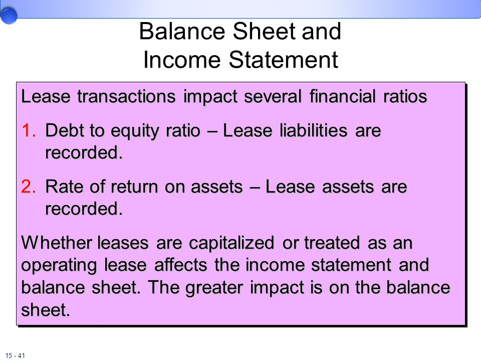Balance Sheet and Income Statement