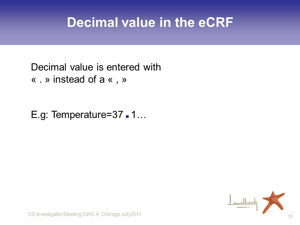Decimal value in the eCRF