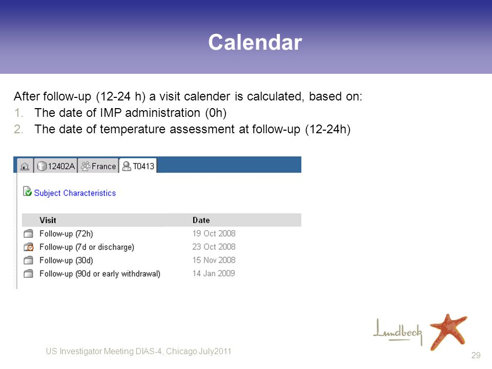 Calendar After follow-up (12-24 h) a visit calender is calculated, based on: The date of IMP administration (0h)