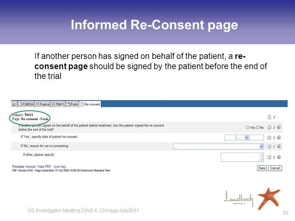 Informed Re-Consent page
