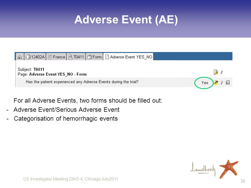 Adverse Event (AE)For all Adverse Events, two forms should be filled out: - Adverse Event/Serious Adverse Event.