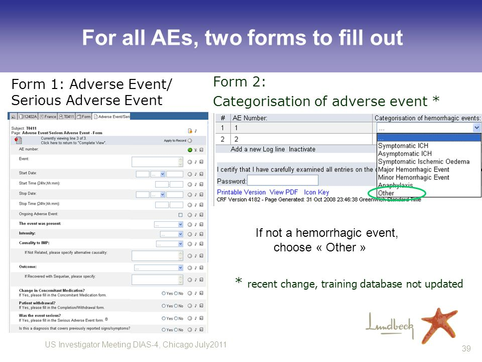 For all AEs, two forms to fill out