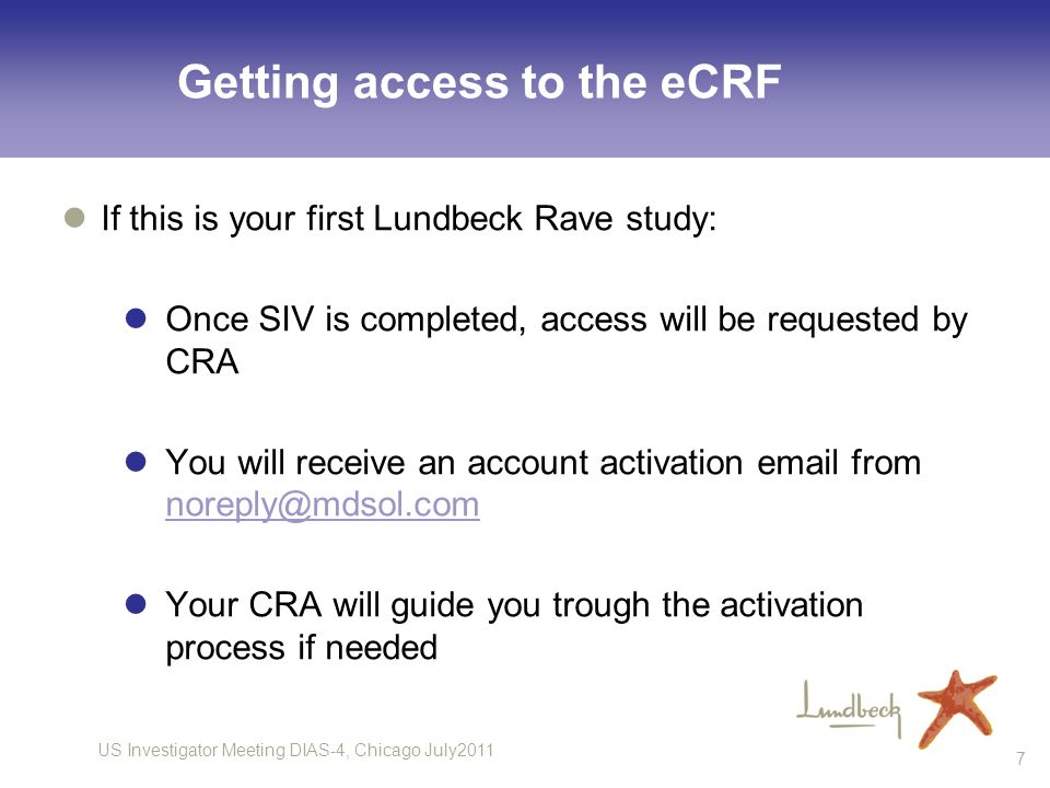 Getting access to the eCRF