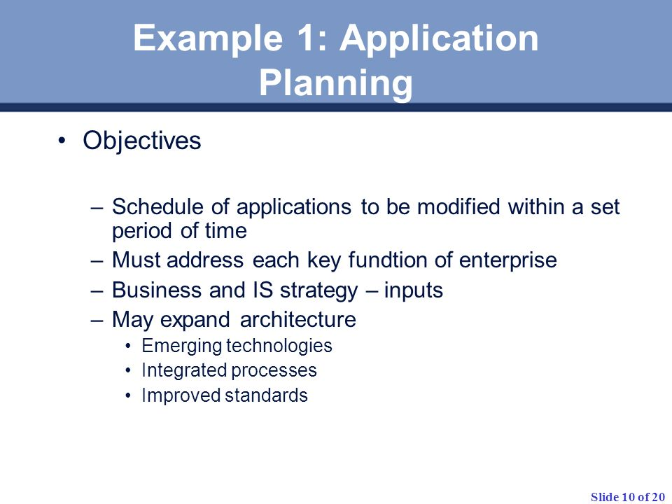 Example 1: Application Planning