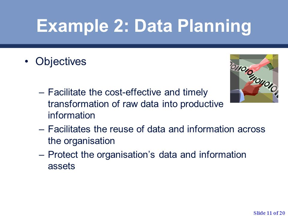 Example 2: Data Planning