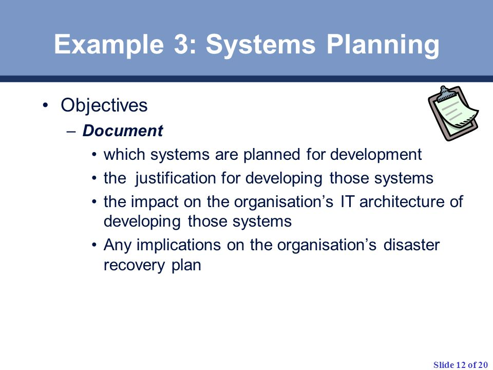 Example 3: Systems Planning