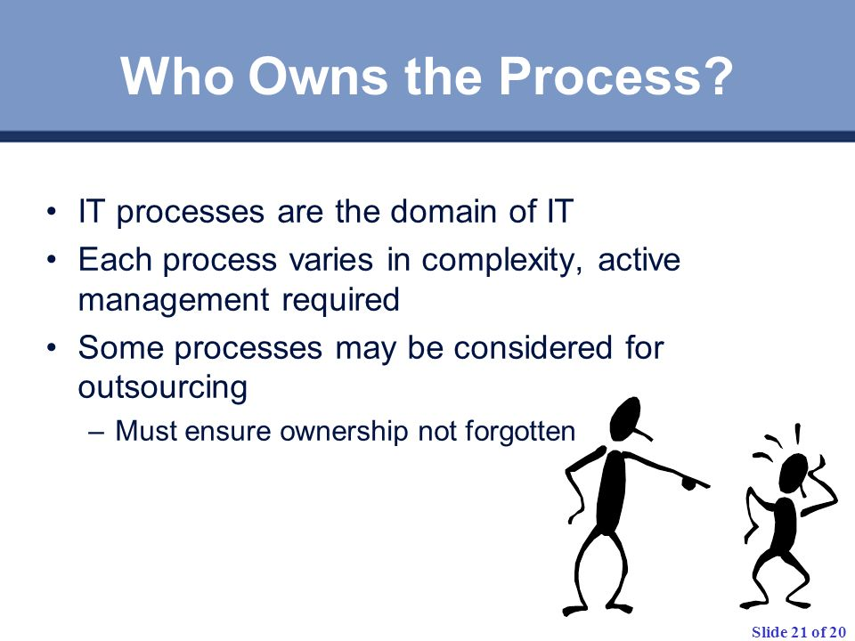 Who Owns the Process IT processes are the domain of IT