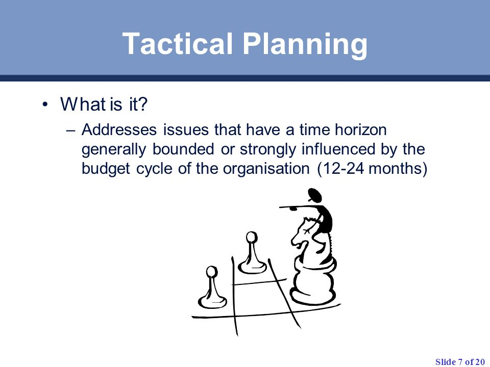 Tactical Planning What is it
