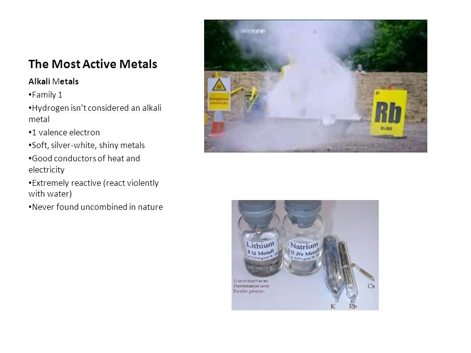 The Most Active Metals Alkali Metals Family 1