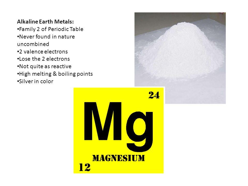 Alkaline Earth Metals: