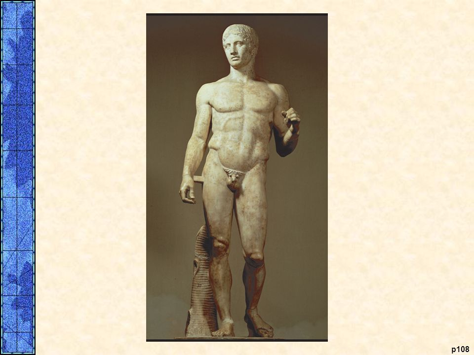 Doryphoros. This statue, known as the Doryphoros, or spear carrier, is by the fifth-century B.C.E. sculptor Polyclitus, who believed it illustrated the ideal proportions of the human figure. Classical Greek sculpture moved away from the stiffness of
